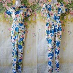 Ivory and Blue Floral Jumpsuit